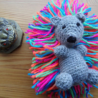 Lovely crocheted amigurumi hedgehog, mini stuffed animal, rainbow toys, CE certified