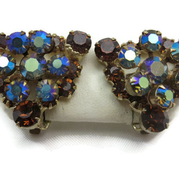Juliana Jewelry Rhinestone Earrings - Topaz and AB Rhinestone Clips Costume Jewelry, D&E Delizza and Elster