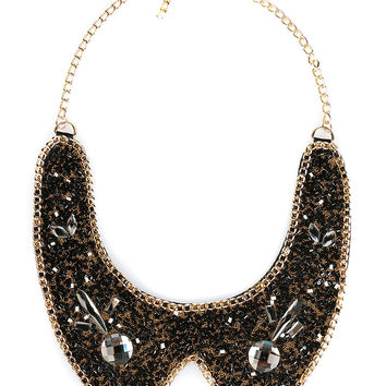 Black Beaded Stone Chain Statement Collar Necklace