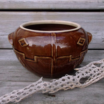Vintage Geometric Planter - Aztec Succulent Pot Brown Pottery Round Boho