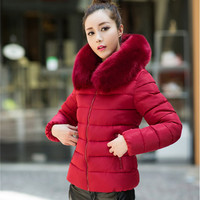 2016 new coat women jacket female winter coats thick casual women Down & Parkas  casaco fur collar with hooded parka