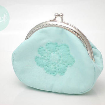 bridesmaid pastel mint clutch purse,coin purse,lace floral linen purse,metal frame,hand sew,quilted pouch,girls, for her,mint wedding theme