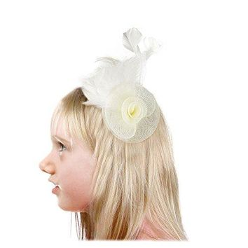 SACASUSA Flower Fascinator Feather Mesh Gauze Cocktail Girl Child Hair Clip Brooch Pin