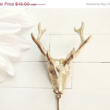 Christmas in July Sale / Christmas in July Gold Deer Head Hook / Stocking Holder / Home Decor / Wall Hook / Single Hook  / Cabin Decor / Go