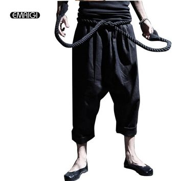 Men Fashion Punk Big Rock Crotch Pants Male Ankle Length Trousers Vintage Culottes Bloomers Linen Harem Pant Stage Costumes K28