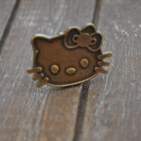 Vintage Hello Kitty ring, rustic metal cast, antique color, adjustable ring