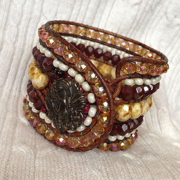 5 Row Mane Event Leather Wrap Bracelet Stacked Cuff: Picasso Fire Polished Czech Glass Beads, Faceted Crystals, Brown Tan & Ivory OOAK Boho