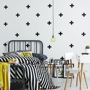 ZN A052 80pcs set kid's bedroom PVC wall stickers cross plus wall decal for baby room wall decoration