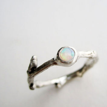 White Opal Silver Twig Ring