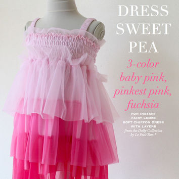 DOLLY by Le Petit Tom ® FAIRY DRESS 3-color Sweet Pea Fairy baby+pink+fuchsia