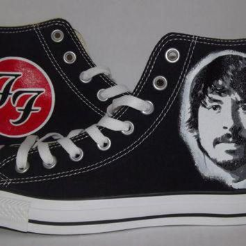 ONETOW hand painted custom dave grohl foo fighters converse all star hi black