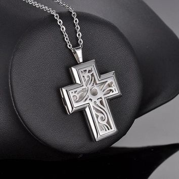 Stainless Cross Diffuser Necklaces