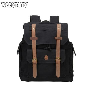 VEEVANV Rucksack casual leather men's backpacks women laptop computer backpack brand vintage canvas school travel shoulder bag