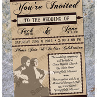"Wedding Invitation Personalized ""Vintage Titanic"" Printable 4x6 5x7"