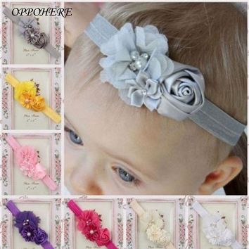 Fancy Kids' Headband Colorful Flower Cute European Style Korean Mesh Elastic Children's Hairband Baby Hair Accessories