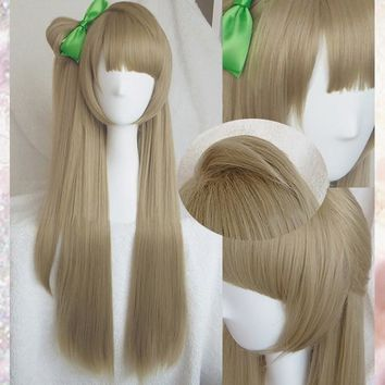 High Quality Anime LoveLive! Love Live Minami Kotori Linen Brown Cosplay Hair Wig + Bow Hairpin