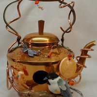 Whimsical Repurposed Recycled Copper Plated Tea Kettle Birdhouse