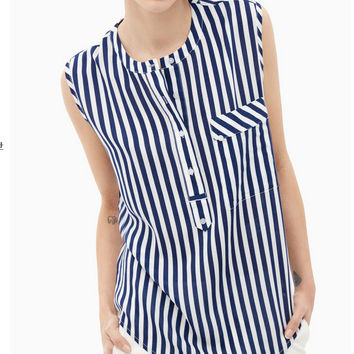 Vertical Stripe Sleeveless Button-Up Shirt