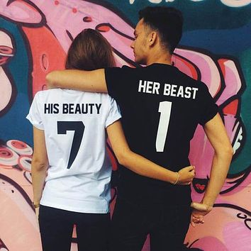 Beauty and Beast couple T-shirt Tumblr fashion t shirt gift for her or him fashion t shirt summer causal couple t shirt