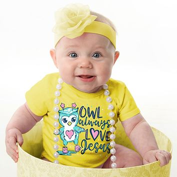 Kerusso Owl Always Love Jesus Christian Baby Toddler Youth Bright T Shirt