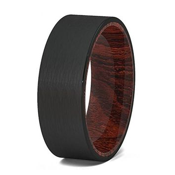 Mens Black Tungsten Wedding Band on Solid Wood Sleeve W/ Brushed Finish - 8 mm