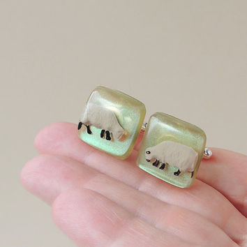 Sheep Cufflinks, Little Sheep Diorama Figures in Resin Cabochons, Sheep Jewelry, Resin Jewelry, Gift for Farmer, Farm Animal Gift, UK (125)