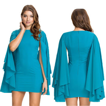 Blue Angel Sleeve Casual Bodycon Mini Dress