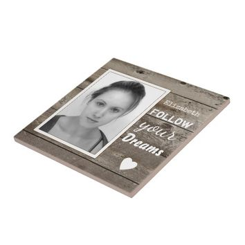 Rustic wood photo coaster ceramic tile