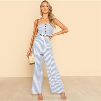 Ruffle Strapless 2 Piece Set Jumpsuit
