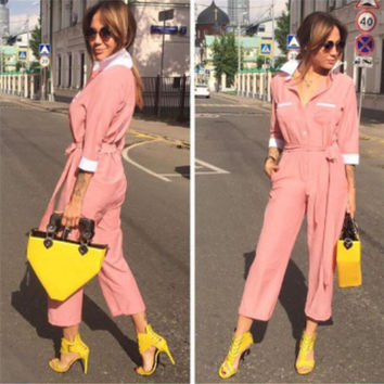 Pink Single Breasted Belted Bow Long Sleeve Jumpsuit