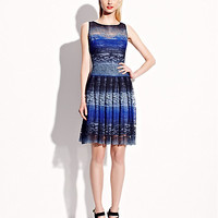 BetseyJohnson.com - OMBRE LACE SLEEVELESS DRESS BLUE MULTI