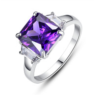 Stainless Steel Princess Cut Cubic Zirconia Womens Engagement Ring -Purple