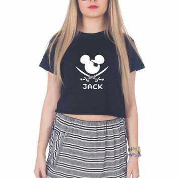 Jack Mickey the Pirate of the Sea For Womens Crop Shirt **