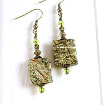 Gemstone and Crystal Dangle Earrings, Gemstone Jewelry