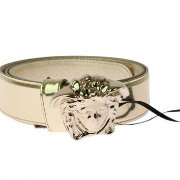 New Versace Metallic Gold Leather 3D Medusa Belt for Women 80/32
