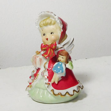 Christmas Caroler Bell Girl Angel With A Doll and Wrapped Present Signed George Z. Lefton Christmas Porcelain No Chips or Cracks
