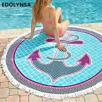 Quick Dry Floral Pareos Beach Cover-Up Beach Mat Towel Swimsuit Cover Up Round Bikini Cover Up Bikini Coverup Swimwear #G34