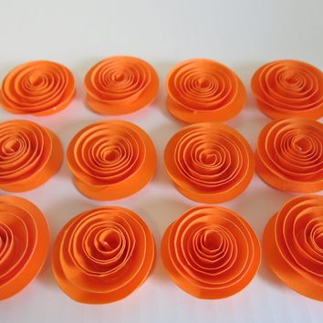 "Bright Orange paper flowers set of 12 small 1.5"" roses, 3D table scatter, runner decor, candle ring dish embellishment Wedding decorations, shower decor"