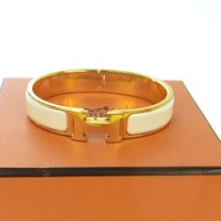 Authentic HERMES Vintage H Logos Clic Clac Bangle Gold White Accessories TG00413