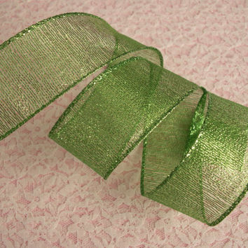 "Green Christmas Ribbon, 1 1/2"" Wide, Wired Edge, Baskets, Bows, Wreaths, Holiday Home Decor, Ribbon Decorations, 5 YARDS"