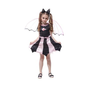 Bat Girl Costume Children Cosplay Dance Dress Cape Cloak Costumes for Kids Little Witch Halloween Lovely Purple Pink Dresses