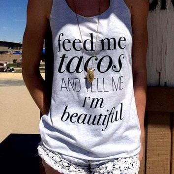 PEAP2Q women tank tops cropped loose tee o neck t shirt feed me tacos and tell me i m beautiful letter printed summer crop top