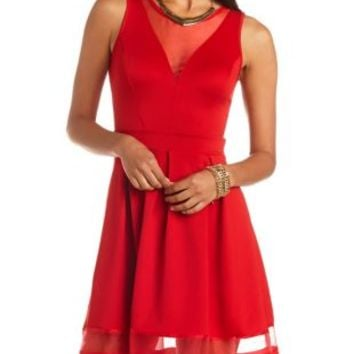fe650fcca Organza Cut-Out Skater Dress by Charlotte from Charlotte Russe