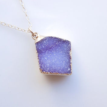 Periwinkle Druzy Necklace - OOAK