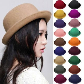 Vintage New Women Lady Trendy Wool Felt Bowler Derby Fedora Hat Cap Hats Caps = 1697603972