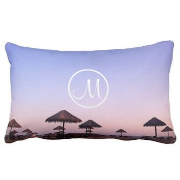 California palapa sunset photo custom monogram lumbar pillow