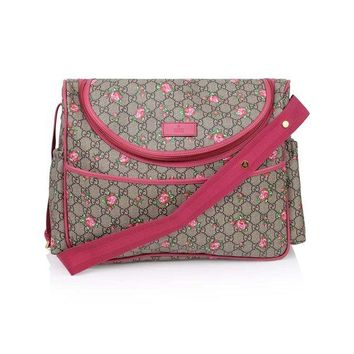 VONW3Q Gucci Rose Bud Zip Pink Print GG Canvas Diaper Bag Beige Girl Baby Italy New