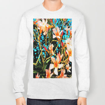 Flowers on Fire Long Sleeve T-shirt by Yuval Ozery