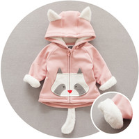 Newborn baby girls and boys winter warm clothes Korean style Cartoon fox print hoodie baby cotton coat infant outerwear coat