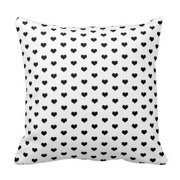 Cute Black Hearts - Throw Pillow